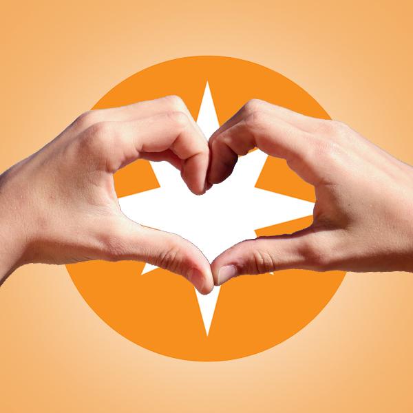 A&M Logo mit Händen die ein Herz formen
