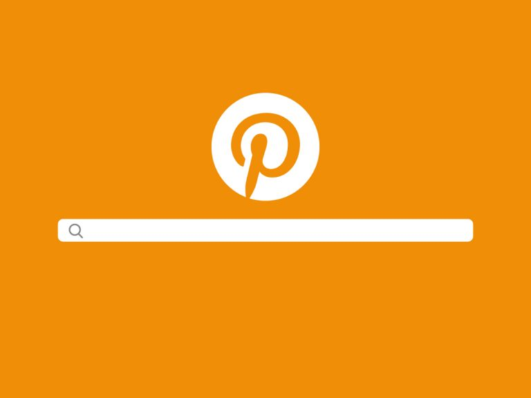 Pinterest Logo mit Suchzeichen