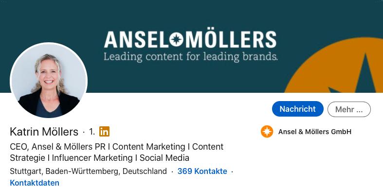Personal Branding auf LinkedIn mit vollständigem n und aktuellem Profil.