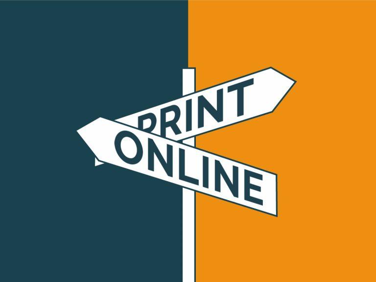 Headerbild mit Wegweiser in Richtungen Print und Online